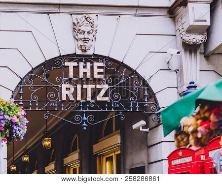 London, United Kingdom - August 17th, 2018: Facade Of He Ritz Hotel In London City Centre In Piccadi