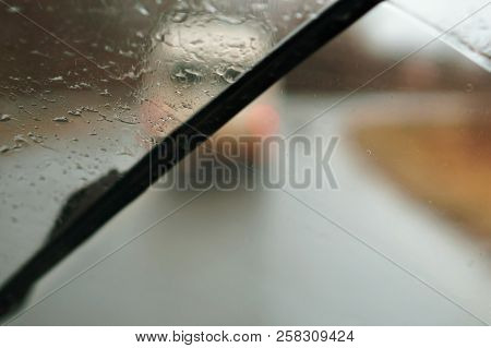 Rain Drops On The Car, View Through Wet Glass, Rainy Weather, Wet Road