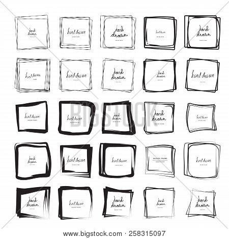 Square Doodle Sketches Scribbles For Frames Isolated