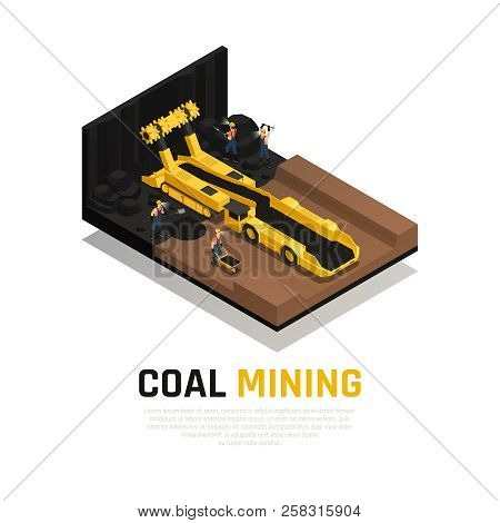 Miners With Working Tools And Yellow Conveyor Vehicle For Coal Mining Isometric Composition Vector I
