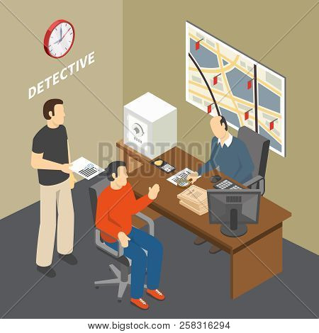 Solving Crime Investigator Collecting Information Talking To Witness In Law Enforcement Agency Detec