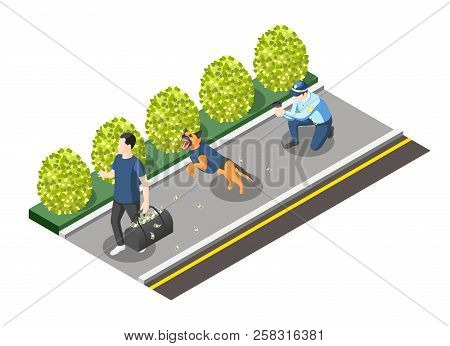 Gangs And Police Isometric Composition With Policeman With Gun And Dog Going For Robber Vector Illus