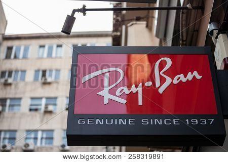 Belgrade, Serbia - September 14, 2018: Ray Ban Logo On Their Main Retailer In Belgrade. Ray Ban Is A