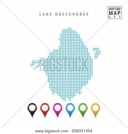 Dots Pattern Vector Map Of Lake Okeechobee, Florida. Stylized Simple Silhouette Of Lake Okeechobee.