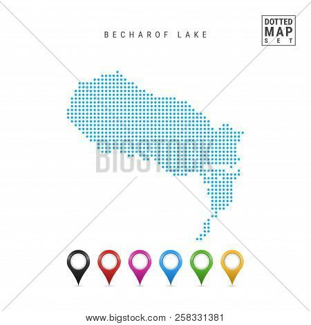 Dots Pattern Vector Map Of Becharof Lake, Alaska. Stylized Simple Silhouette Of Becharof Lake. Set O