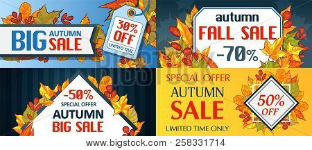 Autumn Sale Leaves. Halloween And Thanksgiving Fall Season Banner Concept Set. Cartoon Hand Drawn Il