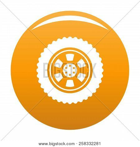 One Tire Icon. Simple Illustration Of One Tire Icon For Any Design Orange
