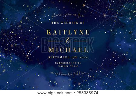 Magic Night Dark Blue Sky With Sparkling Stars Vector Wedding Invitation. Andromeda Galaxy. Gold Gli