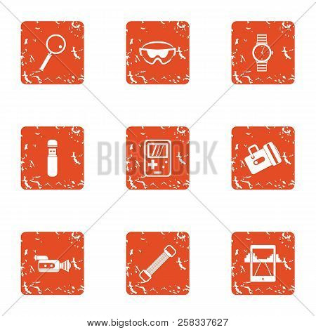Outdoor Recreation Icons Set. Grunge Set Of 9 Outdoor Recreation Icons For Web Isolated On White Bac