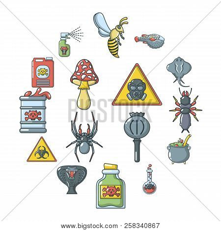 Poison Danger Toxic Icons Set. Cartoon Illustration Of 16 Poison Danger Toxic Icons For Web