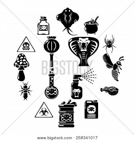 Poison Danger Toxic Icons Set. Simple Illustration Of 16 Poison Danger Toxic Icons For Web