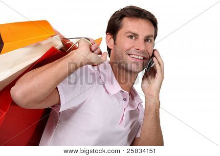 portrait of a man with shopping bags