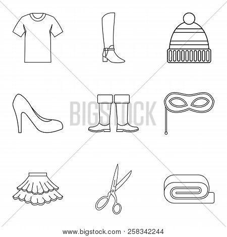 Shopping Tour Icons Set. Outline Set Of 9 Shopping Tour Icons For Web Isolated On White Background