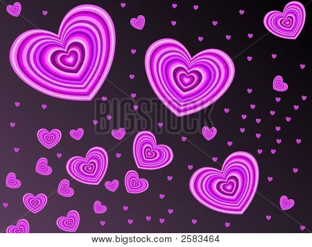 Happy valentines day. Pink hearts in black. poster