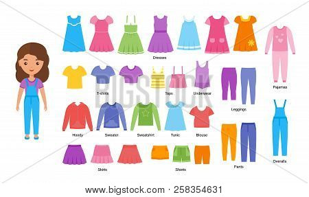 Girl Clothes. Vector. Baby Clothing. Cartoon Female Character Paper Doll With Casual Cloths Set Isol