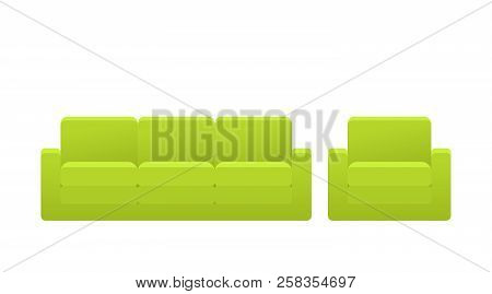 Sofa, Couch, Armchair Icon. Vector. Furniture In Flat Design. Animated Green House Equipment For Liv
