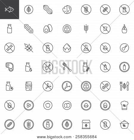 Organic Food Outline Icons Set. Linear Style Symbols Collection, Line Signs Pack. Vector Graphics. S