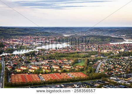 Silkeborg City In Denmark Seen From Above With Buildings And Rivers