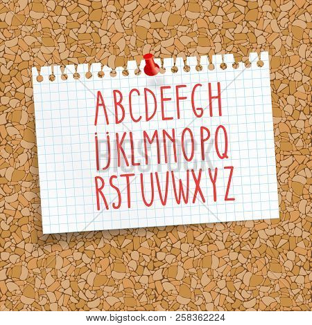 Cork Board With A Pinned Sheet Of Paper In A Cage. Alphabet For Writing Text. Seamless Background Co