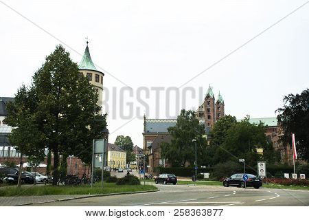 Travelers People Driving Car On The Road Go To Speyer Town In Rhineland-palatinate, Germany