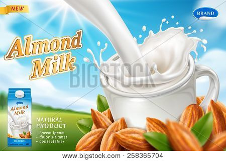 Package Design For Almond Milk Or Vegan Drink With Milky Splash At Cup, Carton Pack And Heap Of Nuts