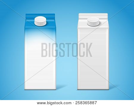 Blank Carton Milk Boxes Or Paper 3d Container For Dairy, Isolated Empty Pack For Liquid Or Cardboard