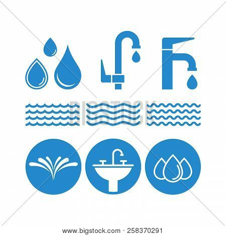 Water Flat Vector Icons Set. Fauset Water, Splash, Water Spray, Drops, Waves, Washstand Flat Vector