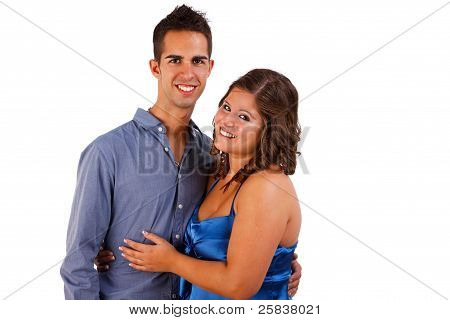 A Beauty And Happy Cute Couple, Isolated On White, Studio Shot