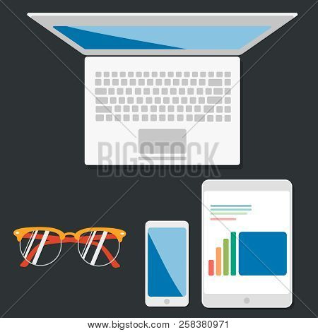 Communication And Business Work Concept Render Of Laptop Or Notebook, Tablet Computer Pc With Stock