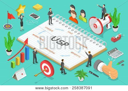 Usp - Unique Selling Proposition Isometric Flat Vector.