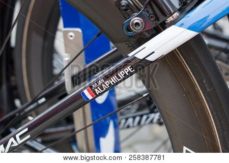 Ruzomberok, Slovakia - September 14, 2018: Julian Alaphilippe Bicycle Detail Before Third Stage Of R
