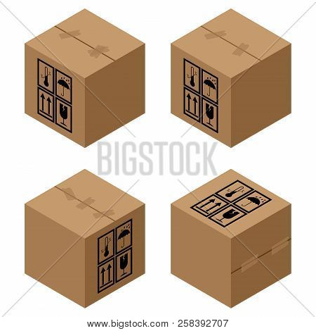 Box Icon. Vector Illustration Of Packing Boxes. Cardboard Box.