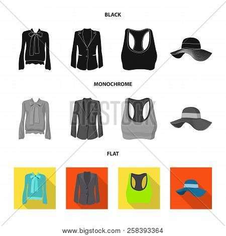 Vector Design Of Woman And Clothing Icon. Set Of Woman And Wear Vector Icon For Stock.