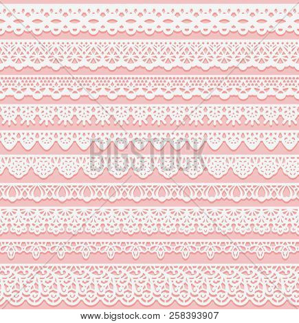Set Of Horizontal Seamless Borders For Wedding Design. White Lace Silhouette Isolated On Pink Backgr
