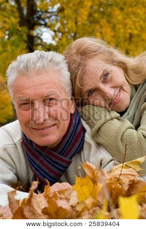 Old Couple On Leaves