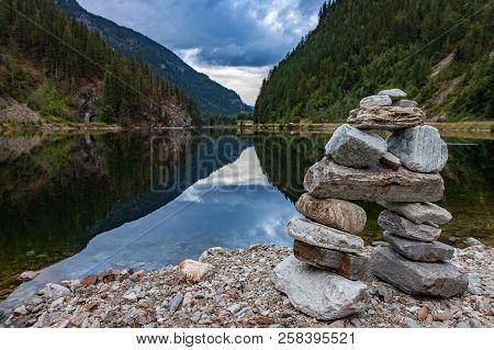Rock Inukshuk At Griffin Lake British Columbia