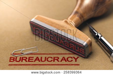 Bureaucracy Words Stamped On A Brown Paper With Rubber Stamp. Red Tape Concept. 3d Illustration