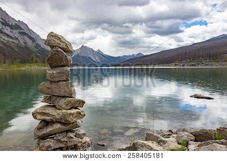 Stack Of Rocks By Medicine Lake In Alberta