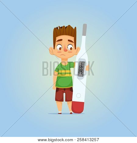 Little Ill Boy With Brunette Hair Hugging Thermometer  And Watching Sad On It  With Hight Temperatur