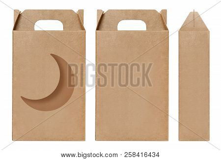 Box Brown Window Crescent Moon Shape Cut Out Packaging Template, Empty Kraft Box Cardboard Isolated