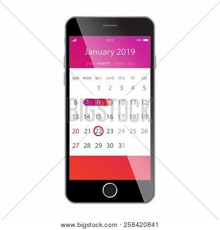 Calendar On Smartphone Screen. Planning, Schedule, Timetable, Appointment, Reminder App Concepts. Sm