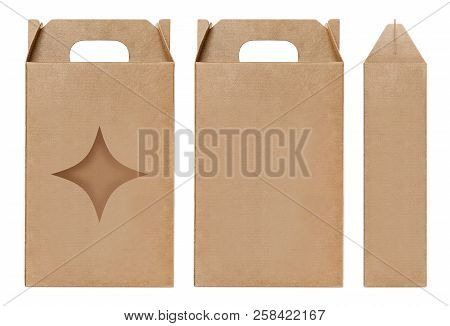 Box Brown Window Star Shape Cut Out Packaging Template, Empty Kraft Box Cardboard Isolated White Bac
