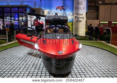 Geneva, Switzerland - March 6, 2018: Pal-v Liberty Flying Car Makes Public Debut At The 88th Geneva
