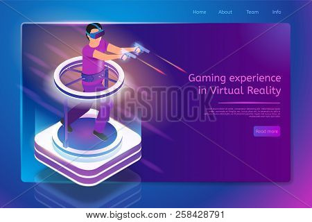 Gaming Experience In Virtual Reality Isometric Web Banner With Man In Vr Goggles, Running On Treadmi