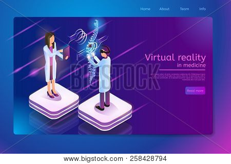 Virtual Reality In Medicine Isometric Web Banner With Medical Personnel, Doctor In Vr Headset Diagno