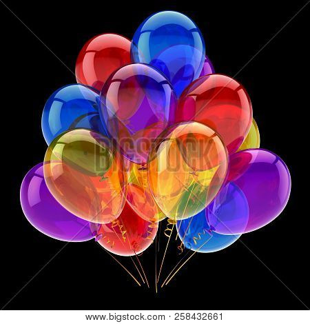 Balloons Colorful Bunch. Birthday Carnival Party Decoration Symbol Multicolor. 3d Rendering, Isolate