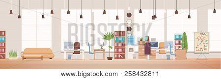 Office Interior And Workspace. Modern Office Desktop In Coworking Workspace. Optimization Of Workpla