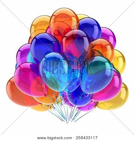 Carnival Party Balloons Bunch Multicolored. Best Colorful Birthday Decoration. Entertainment Events,