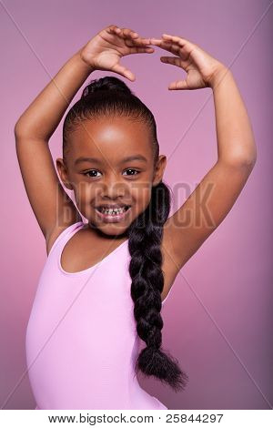 Cute Little African American Girl Dancing