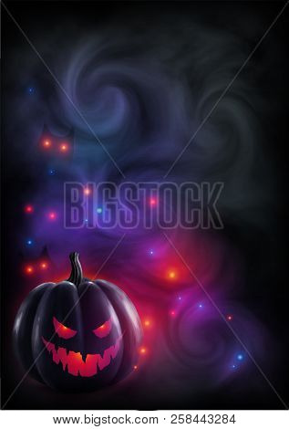 Red Light Evil Face Pumpkin On Mystic Fog And Color Lights Background. Halloween Poster Or Flyer Mag